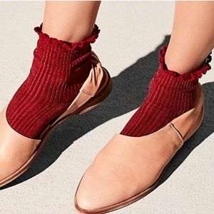 Free People Ribbed Lace Trim Ankle Socks